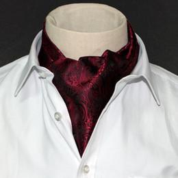 Wholesale Tuxedo Ascot Tie - Wholesale- 1 Piece Fashion Brand Men Necktie Cravat Polyester Paisley Pattern Gentlemen Dots Selft Tie Wedding Ascot Blue Bowtie Tuxedo
