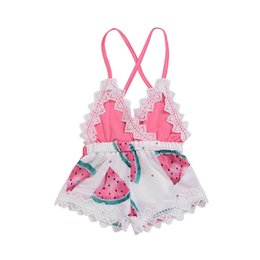 robe de soirée enfantine Promotion Bébé Filles Pastèque Cross Back Barboteuses 2017 Summer Infant Boutique Vêtements INS Bébé Toddlers Girls Dentelle Halter Combinaisons Onesies robe