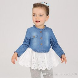 Wholesale Long Denim Skirts Wholesale - Hot selling 2018 INS spring NEW arrival Girls Kids long Sleeve Stitching embroidered cloth dress kids causal high quality cotton Denim skirt