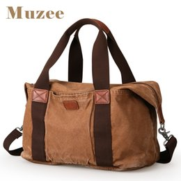 Wholesale Antique Travel - MUZEE New Arrival Canvas Men Travel Bag Weekend Bag Washed Finished Product High Capacity for Men Antique Canvas
