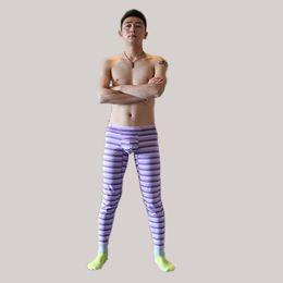 2019 pantaloni lunghi sottili stile uomo Stripe Print Leggings per uomo Autunno Inverno New Tide Russia Cina style brave uomo giallo blu long johns Slim elasticità Cotton Blending pants sconti pantaloni lunghi sottili stile uomo