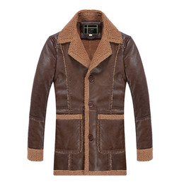 Wholesale vintage leather trench - Bomber Mens Leather Jacket Fur Lined Vintage Designer Long Trench Coats Turn Down Collar Motorcycle Suede Jackets Winter Male