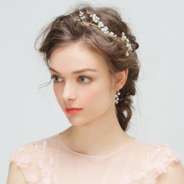 Wholesale flower imports - Free Shipping DHL Imported Pearls Alloy Plating 100% Handmade Bridal Accessories Headpieces Headbank Hair Jewelry V7