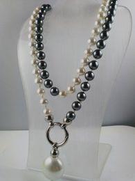 2019 collane di perle nere del sud del mare Annodato a mano da sposa bianco nero 10mm south sea shell collana di perle lunghe 90cm gioielli di moda collane di perle nere del sud del mare economici