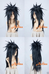 Traje de cosplay madara on-line-NARUTO Madara Preto Longo Anime Cosplay Wig