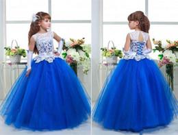 Королевский синий цветок девушка платье с Слоновой Кости кружева лиф (перчатки не включены)) от