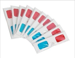 фильмы анаглифические очки Скидка Горячая универсальный сложить 3D очки анаглиф красный / синий бумага голубой фильм 3D виртуальное видео размерный бесплатная доставка