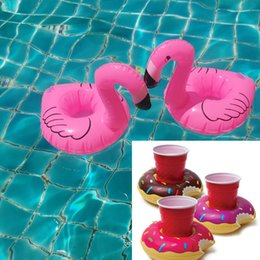 Wholesale Floating Pool Lights Balls - INS Inflatable Floating Drink cushion Holder mini swim ring Coasters Bathing Cup Ring Flamingo Coconut tree Pineapple Donut bath toys LC916