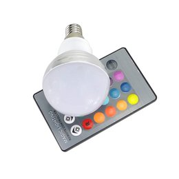 Wholesale Rgb Home Spot - E27 E14 LED RGB Bulb Lamp 3W AC85-265V LED Home decoration Interior Spot Light Lighting LED Lampada+IR Remote Control 16 Colors