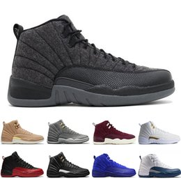 Wholesale red light taxi - 12 12s mens basketball shoes Wheat Dark Grey Bordeaux Flu Game The Master Taxi Playoffs Wolf Grey Gym Red Royal Blue Suede Sports sneakers