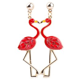 Wholesale Long Cheap Earrings - Red Flamingo Earrings Long Luxury Drop Earrings For Women Personalized Gifts For Girls & Children Cheap Fashion Jewelry 3