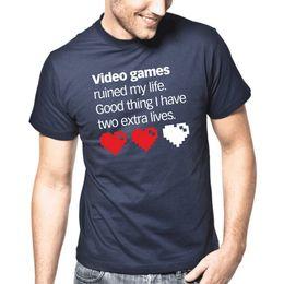 Canada Les jeux vidéo ont ruiné ma vie. Heureusement que j'ai deux vies supplémentaires.   S-XXL T-Shirt Style Blanc Offre