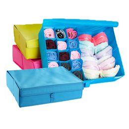 Wholesale grid 16 - Underwear organizer bra scarf socks home storage box square oxford case portable closet 16 grids washable durable