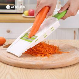 cortadores de legumes atacado Desconto Atacado Multifuncional 5 Em 1 Fatiadoras de Legumes Com 5 Lâminas de Ralador De Legumes Ralador De Cenoura De Frutas Cortador de Cozinha Ferramentas