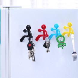Wholesale Animal Car Magnets - 1Pcs New Creative Magnetic Wall Mount Man Keys Hook Magnetic Multi Color Key Holder Magnet Rack Hook Hanger Fridge Door Decor