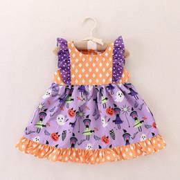 Laranja tutu vestido meninas verão on-line-INS kids Halloween orange Dot Imprimir tutu Vestidos de manga comprida Meninas Verão azul Vestido de Princesa Crianças Do Bebê Do Partido Do Casamento Vestidos de Halloween