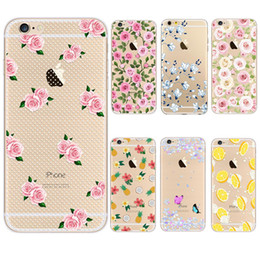 Wholesale Pineapple Cover - For iphone 6 6S Hard PC transparent Case Flower floral lemon coconut and pineapple Painting protector Printing Cell Phone Cases cover