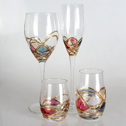 Wholesale Colorful Flutes - Luxury Goblet Champagne Flute Glass Crystal cup Red Wine Glasses For Vodka Cups colorful Stemware Bar Hotel party Drinkware