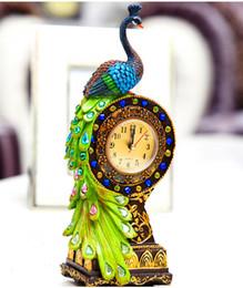 Home bella orologi online-Spedizione gratuita pastorale desktop orologio resina tropicale sapore di pavone statuetta orologio verde bella home decor bei regali