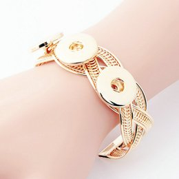 Wholesale Wholesale Copper Brass Bangles - Snap Bracelets Fit 18MM Metal Buttons Noosa Chunks Snap Bracelet Gold Silver Snap Button Jewelry Holiday Gifts