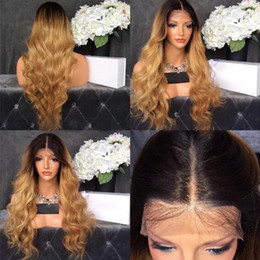 Wholesale rooting baby - Middle Part Ombre Wig With Dark Roots Blonde Wig Glueless Synthetic Lace Front Wig Body Wavy With Baby Hair For African American Wigs