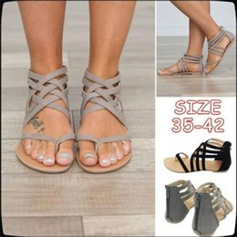f8184f54a259 Plus size Summer Women Flat Heel Clip Toe Hollow Out Rome Sandals Flip Flops  Breathable Chunky Heels Beach Ankle Shoes