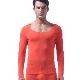 Wholesale lace long underwear - Ice Silk Long Johns Men Underwear Clothing Elastic Autumn Sheer Clothing Cute Lace Shirt Long John For Man Gay See through