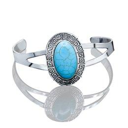 Wholesale Marketing Chain - Europe Bohemia Vintage Turquoise Bracelet Bracelet carved geometric opening Yiwu commodity wholesale market