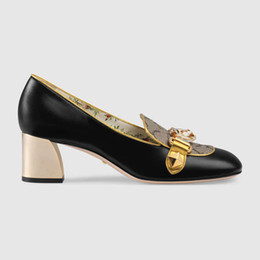 Wholesale Shoes Chunky Heels - Women mid-heel pump fashion Dress shoes high quality LUXURY BRAND Designer shoes Size 35-40 model 253238619