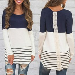 Wholesale Khaki Lace Long Sleeve Top - SMILE Women's Back Lace Color Tops Long Sleeve T-shirts Blouses