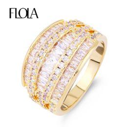 Wholesale Marquise Wedding Sets - FLOLA Marquise Multi 3 Row Bijoux Fashion Wedding Ring Original Pave AAA Full CZ Stone Engagement Ring Love Jewelry Femme rige90