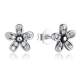 Wholesale Valentine Stud - Authentic 925 Sterling Silver Dazzling Daisy Stud Earrings With Clear CZ Jewelry Special Store Valentine Day Gift Pandora Earrings