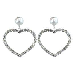 2019 herzen kristall kronleuchter Liebe Herzförmige Ohrringe Weiß Bling Kristall und Perle Ohrringe 925 Sterling Silber Chandelier Ohrringe für Frauen Liebhaber mit Free Box