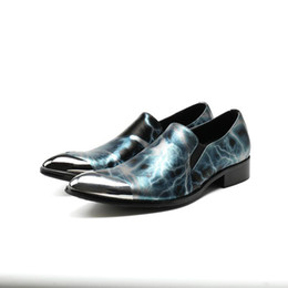 5c229348bda7 men classic shoes handmade Canada - mens shoes high heels blue spiked  loafers metal pointy oxford