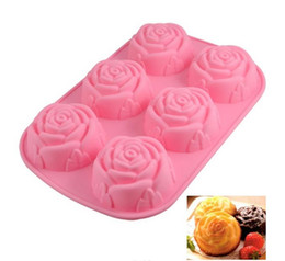 Wholesale Christmas Pudding - 2018 3D Rose Floral Cake Chocolate Pudding Mold Cutter Silicone Mould Baking Tools