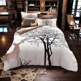 Wholesale Thick Comforters - Svetanya Tree Deer print bedding set thick sanding cotton Bed Linens Queen King size winter Duvet cover set