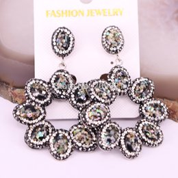 Wholesale Rainbow Dangle Earrings - 4Pairs Jewelry Fashion Drop Earring Flower Rainbow Shell with Crystal Rhinestone Paved Dangle Earrings For Women