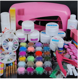 conjunto de lâmpada uv 9w Desconto Venda por atacado - Conjunto de nail art profissional conjunto de unhas de acrílico nail art conjuntos de ferramentas de manicure kit incluindo 9W UV secador de acessórios da lâmpada