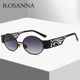 f63195a23d8 ROSANNA Hip Hop Retro Steampunk Sunglasses Men Round Vintage Hollow Metal  Frame Gold Black Oval Sun Glasses For Women UV400 R533