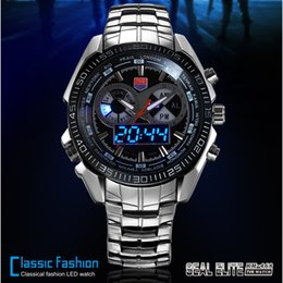 Wholesale Tvg Steel Watch - TVG Hight Quality Stainless Steel Men's Clock Fashion Blue LED Pointer Watch Mens 30AM Waterproof