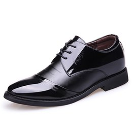 men patent leather shoes oxfords Promo Codes - Height Increasing 6cm Men Dress Shoes Black Patent Leather Formal Shoes Men Brown Black Wedding Elevator Oxford Shoes for Men