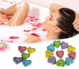 Wholesale floral skin - Heart Floral Sea salt Bath ball Aroma Bath Salt Ball Female Moisturizing Skin Care Cleansing Bubble Bath Salts Ball