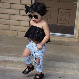 Wholesale Kids Girls Jeans - Fashion Kids Clothing Baby Girls Clothes Set 3PCS Dot Wrapped Chest Crop Top +Ripped Hole Jeans Pants +Headband Outfits Casual Clothing Sets