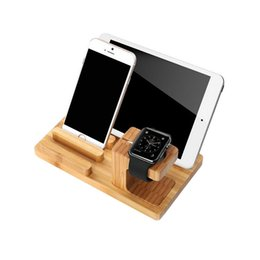 Wholesale Three Mobile Cell Phones - Three USB Plug Support Solid Wood Watch Bracket Cell Phone Bamboo Wood Charging Base Mobile Phone Stents Universal Contracted