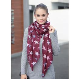 Wholesale Lightweight Fashion Scarves - Designer viscose scarf star printing fashion women scarf lightweight wraps pink spring colors LL180177