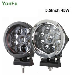 Round 45W LED Work Light Spot Combo For Offroad Machinery 4WD ATV SUV Truck 4x4 Driving HeadLights Fog Lamps 12V 24V
