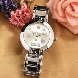 Wholesale Cute Ladies - 2017 high quality ladies fashion luxury watch rose gold diamond watches LOVE cute bear couple watch send girlfriend gift wholesale