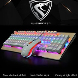 Wholesale Fl Blue - FL-ESPORTS TT104 RGB Backlit Ergonomic USB Wired Mechanical Gaming Keyboard and Mouse set ,Metal Buttom Mouse Blue Switch