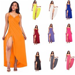 Wholesale long cotton beach skirts - Beach Bandage Solid Dress V-Neck Bikini Wrap Cover Up Backless Long Maxi Tunic Dress Loose Casual Sexy Sleeveless skirt LJJG633 10pcs