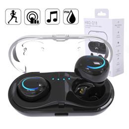 2019 coque iphone oreille TWS Q18 Casque Sans Fil Bluetooth Casque Mini HiFi Stéréo Basse Écouteurs In-Ear Écouteurs V4.2 + EDR avec Etui de Recharge Pour iPhone 8 X coque iphone oreille pas cher